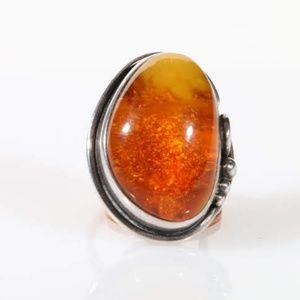 Accessories - Huge Amber Sterling silver Ring size 5.5